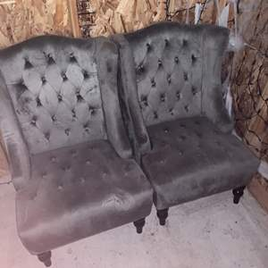 Lot #231 - Two Button Tufted Velvet Armchairs