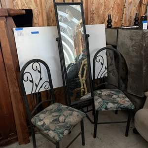 Lot #232 - Two Upholstered Metal Chairs and Metal Frame Full Length Mirror