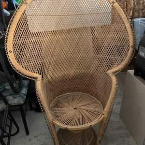 Lot #233 - Retro Bohemian Peacock Chair, Lightweight Woven Wicker