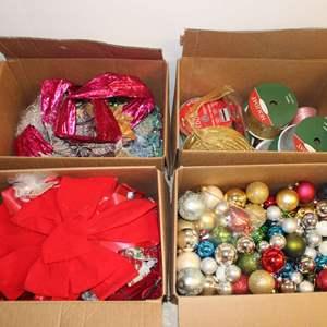 Lot #236 - Large Selection of Holiday Ribbon, Ornaments, Bows, Beads