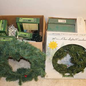Lot #238 - Two Boxes of Holiday Lights and Wreaths