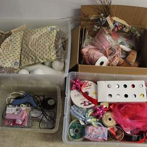 Lot #247 - Boxes Full of Craft Supplies and Ribbon