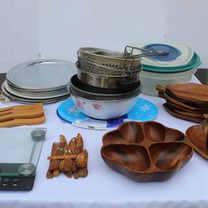 Lot #252 - Taylor Scale, Monkey Pod Bowls and Misc. Cooking Essentials