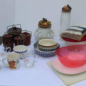 Lot #253 - Ceramic Brown Stoneware Set (More Found Later), Mugs, Bowls, Covered Jars and More