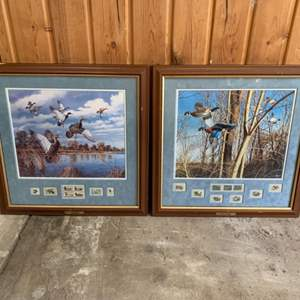 """Lot #258 - Framed and Matted """"Abrupt Departure"""" and """"Tight Quarters"""" by David Maass"""