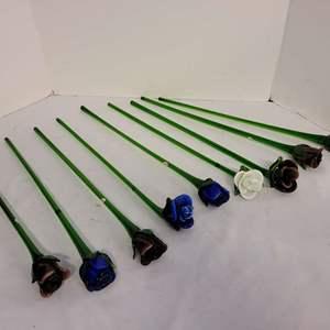 Lot #265 - Hand Blown Glass Long Stem Roses