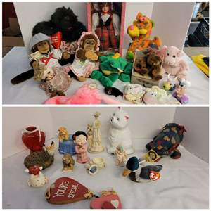 Lot #266 - Doll in Box, Plush Animals and Cute Knick Knacks