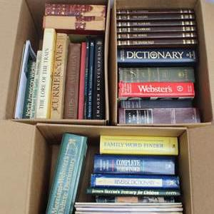 Lot #270 - Three Boxes of Books, Birds Of America, Secrets Of The Sea, Images Encyclopedia, The Lore Of The Train