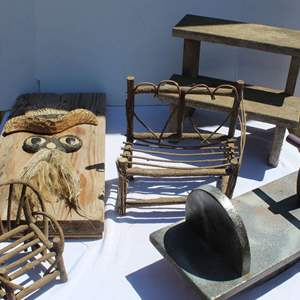 Lot #274 - Small Wood Rocking Horse, Stool and More