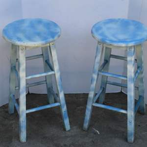 Lot #275 - Two Matching Hand Painted Wood Bar Stools