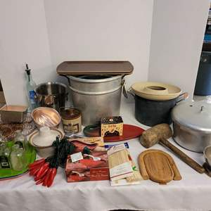 Lot #277 - Kitchen Decor, Pots, Trays, Skewers and More
