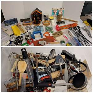 Lot #278 - Kitchen Stuff: Cookie Cutters, BBQ Skewers, Cheese Slicers, All Kinds of Utensils