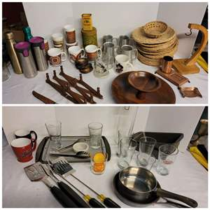 Lot #279 - More Kitchen: 2 Tier Wood Tray, Copper, Banana Hanger, Insulated Cups, Retro Plastic Cups, Bakeware, BBQ Utensils