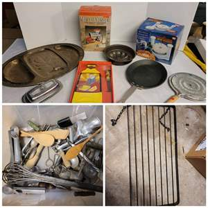 """Lot #280 - Meat Grinder, Onion Machine, Pans, 31"""" Pot Rack Utensils and More"""