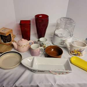 Lot #281 - Tiki Mug, Vases, Decorative Items, Shrimp Dish, Cuisinart Yougert Maker