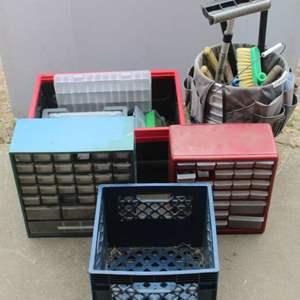 Lot #287 - Nail/Small Parts Organization Bins, Cleaning Tools