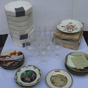Lot #289 - An Assortment of Collector Plates: Waterbirds, Norman Rockwell & More & Wine Goblets