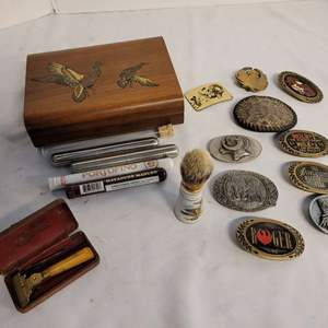 Lot #294 - Collection of Belt Buckles , Men's Vintage Shaving Items and More