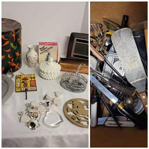Lot #295 - Milk Glass Hobnail Jar with Lid, Solar wall Clock, Kitchen Utensils and Knives