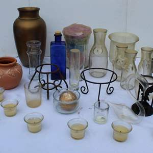 Lot #300 - Candles, Candle Holders and Vases