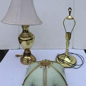 Lot #306 - Two Brass Toned Table Lamps (Could Use New Shades)