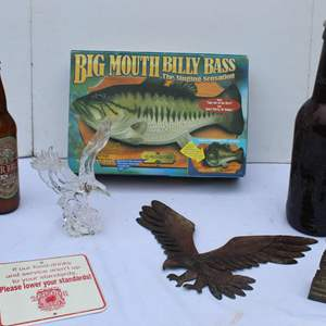 Lot #307 - Glass and Metal Eagles, Giant Beer Bottle, Beer Bread Mix Bottle, Big Mouth Billy Bass & More