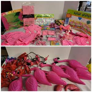 Lot #309 - Have a Flamingo Party! Blow Ups, Glasses, Yard, Lights, Ceiling Decoration and More