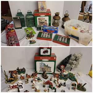 Lot #310 - Christmas Selection: Lanterns, Boxed Decor, Resin & Ceramic  Figurines