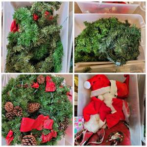 Lot #311 - Christmas  Big Blow Up Santa, Wreath, Garlands and Santa Hats