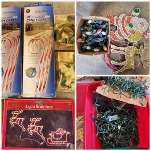 Lot #312 - Christmas Lights Indoor and Outdoor: Candy Canes, Santa and Vintage Lights
