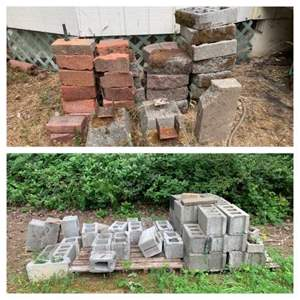 Lot #320 - Red Brick, Cinderblocks and Pavers