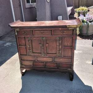 Lot #1-D:  Vintage Small Asian Bar Cabinet