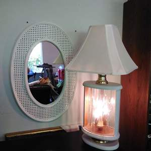 Lot #14 - Vintage White Mirror (30L x 20H) and Lamp w/ New Shade