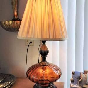 Lot #15 - MCM Atomic Amber/Orange Glass Table Lamp