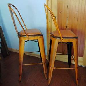 Lot #18-L - Pair of Awesome Newer Orange Metal High Bar Stools Chairs