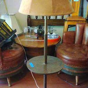 Lot #20 - MCM Floor Lamp with Table and Metal Base