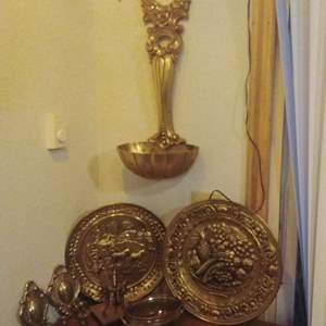 Lot #21 - Brass Lot w English Wall Plates, Sconces, Dolphins...