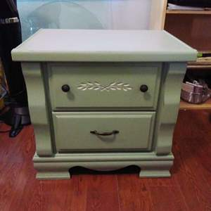 Lot #42-ML:   Shabby Chic 2 Drawer Hidden Compartment Table