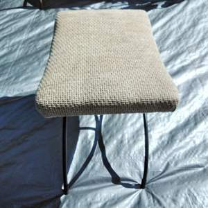 Lot #43-ML:  MCM Newly Reupholstered Wrought Iron Foot Rest