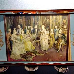 Lot #44 - Vintage MCM Picture Mirror Victorian 'The Concert' by Simonetti