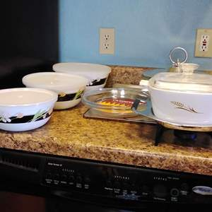 Lot #45 - Kitchen Serving and Baking Items Atomic and Floral