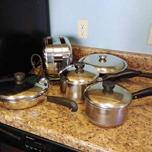 Lot #48 - Pots Pans and Toaster