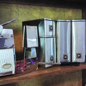 Lot #49 - 18 pc Vintage MCM Kitchen Canisters & ECKO Knives and more