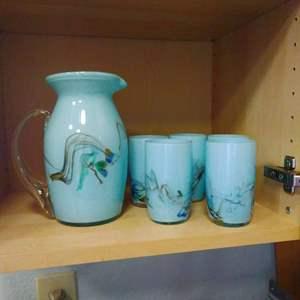 Lot #57 - Stunning Italian Robin Egg Blue Blown Glass Pitcher and 5 glasses Set