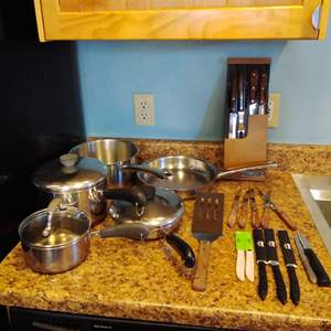 Lot #58 - Pots and Pans and Knives