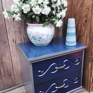 Lot #67 - 2 Drawer Chest, Madeline Pottery and Faux Plant
