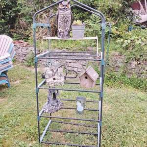 Lot #83 - 3 Tier Potting Station with Yard Art Pieces and Plant