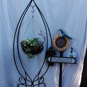 """Lot #84-L:  55"""" Metal Hanging Plant Stand and more"""