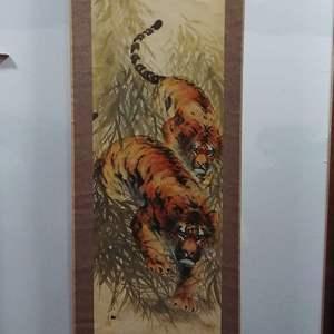 "Lot #88 - Vintage Asian Tiger Scroll 80"" x 23"""