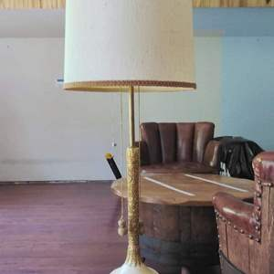 Lot #89 - Very Cool Hollywood Regency Floor Lamp Gold Gilt